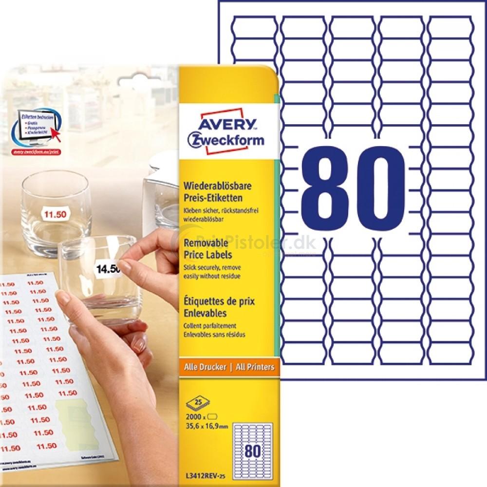 Prisetiketter til A4-printer A4-ark L3412REV-25