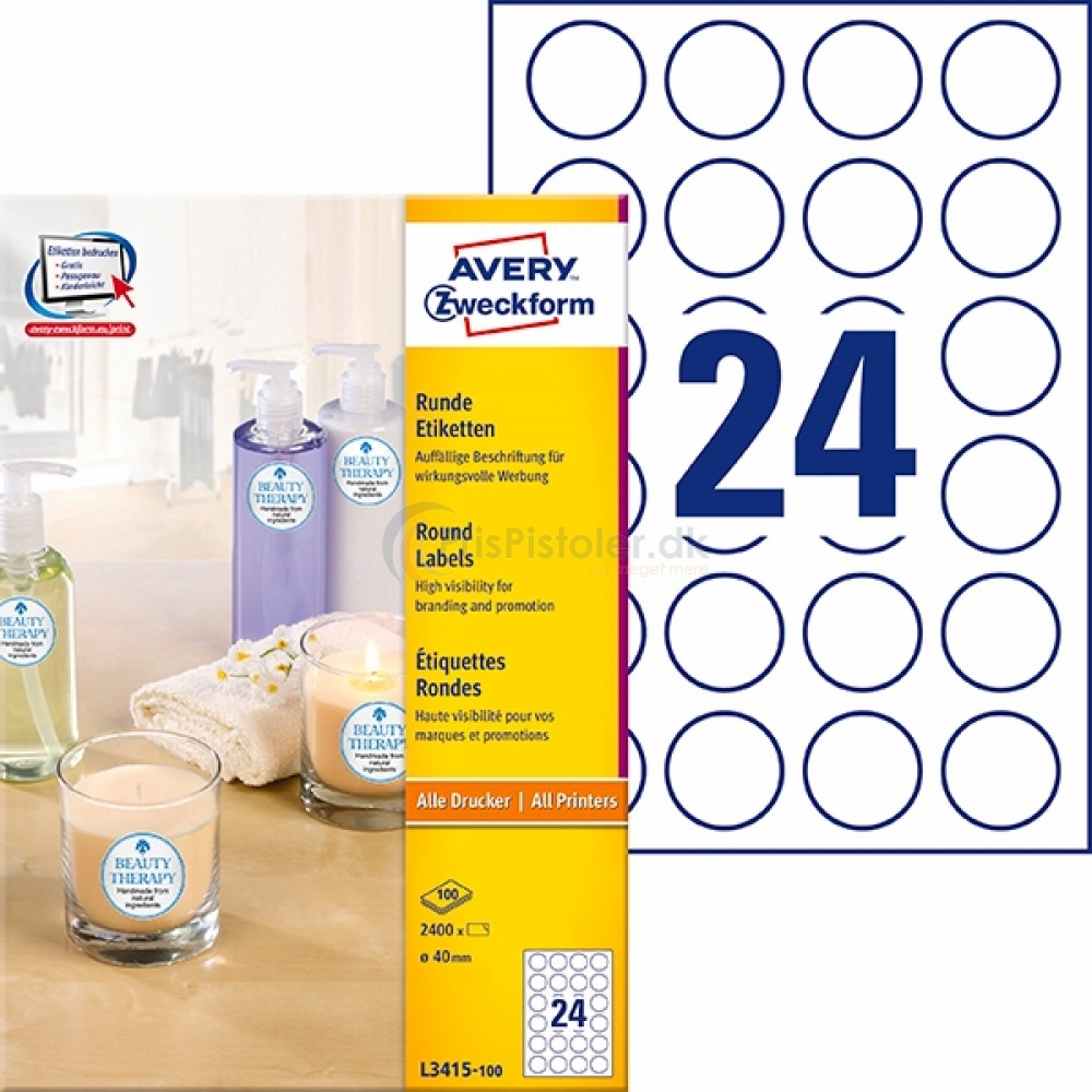 Runde produkt etiketter A4-ark L3415-100