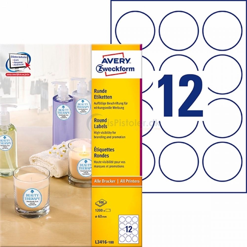 Runde produkt etiketter A4-ark L3416-100