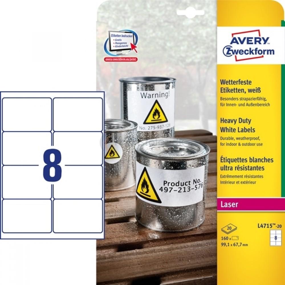 Vejrbestandige etiketter A4-ark L4715-20