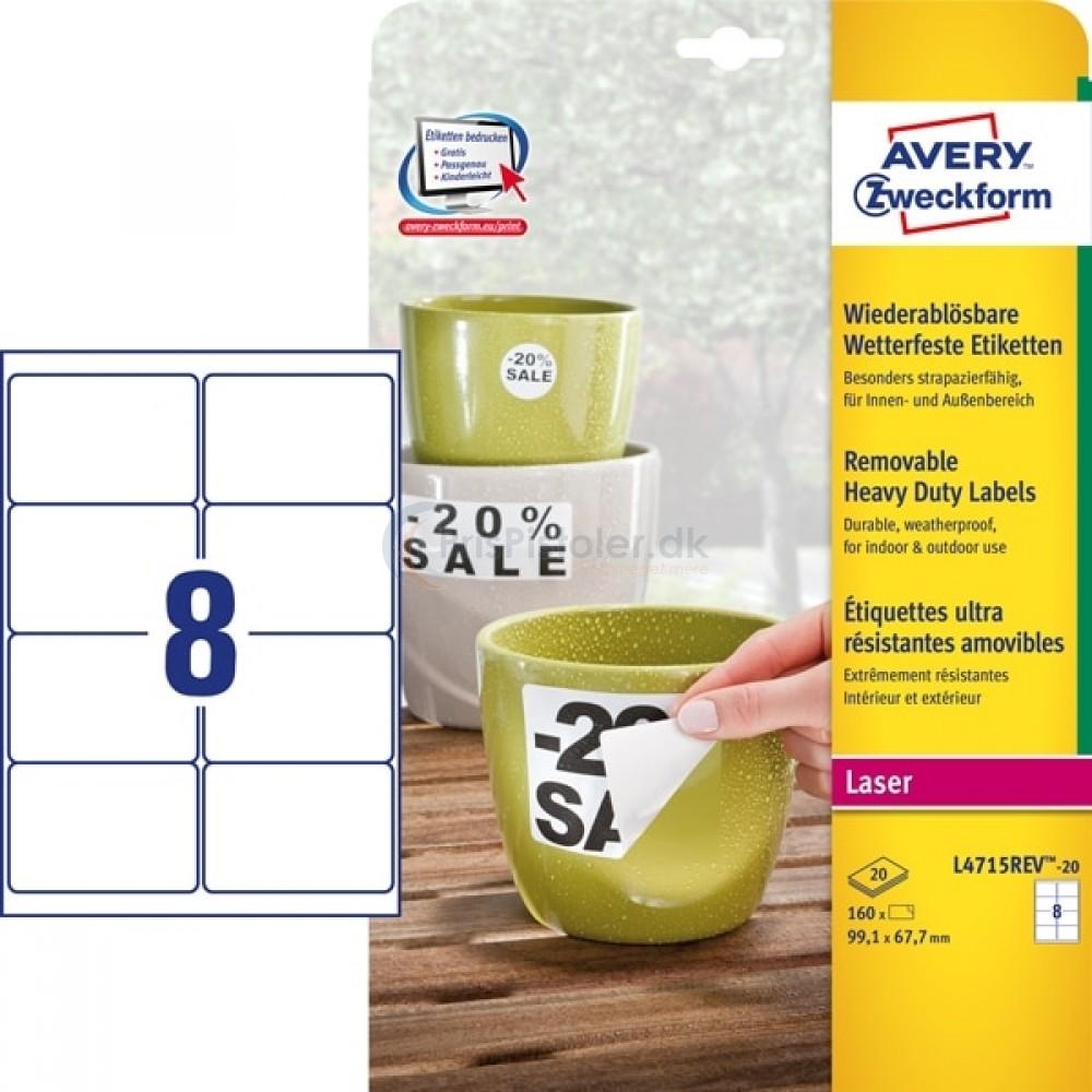 Aftagelige vejrbestandige etiketter A4-ark L4715REV-20