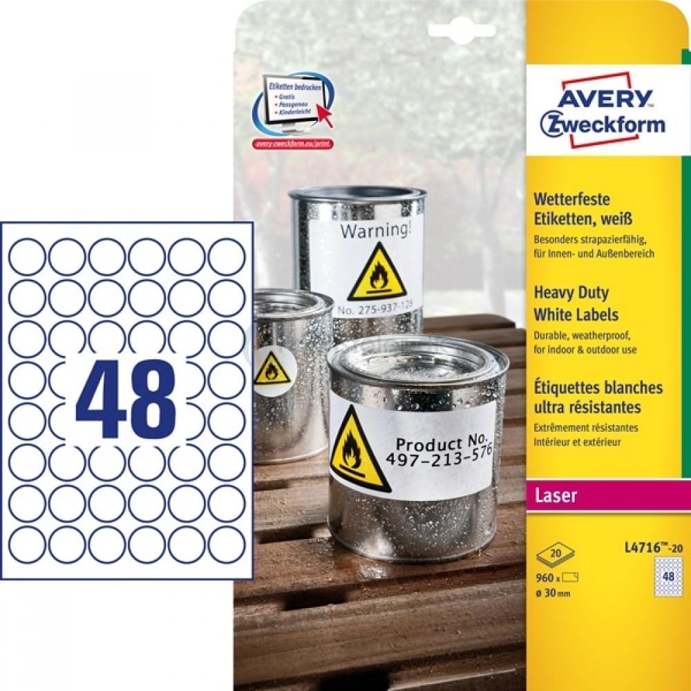 Vejrbestandige etiketter A4-ark L4716-20