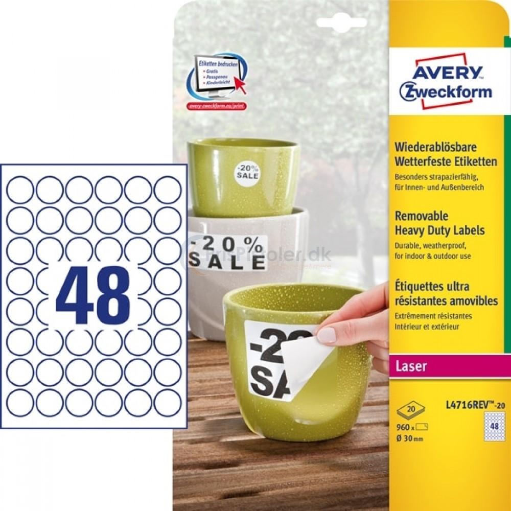 Aftagelige vejrbestandige etiketter A4-ark L4716REV-20