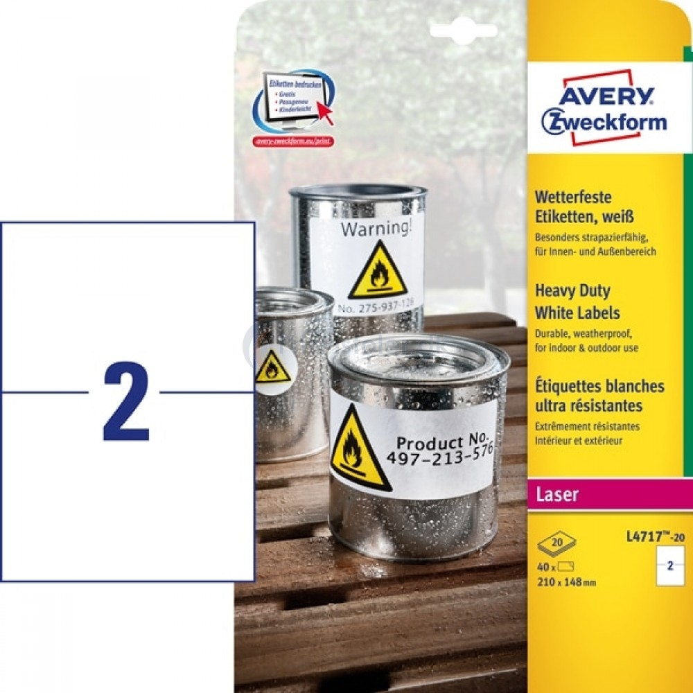 Vejrbestandige etiketter A4-ark L4717-20