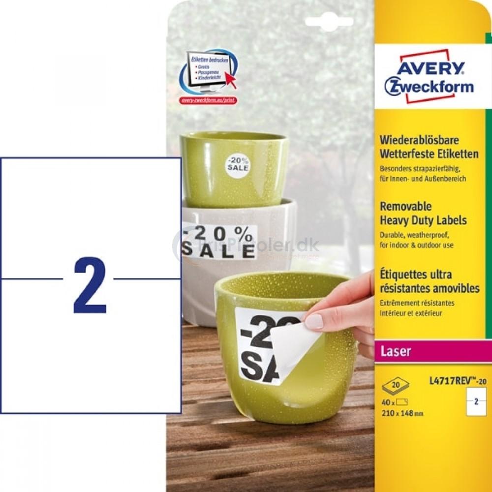 Aftagelige vejrbestandige etiketter A4-ark L4717REV-20