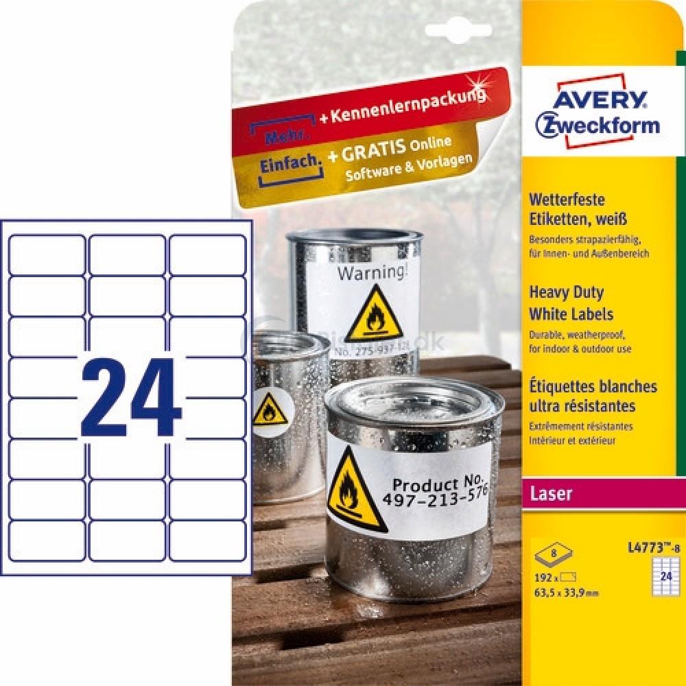 Vejrbestandige etiketter A4-ark L4773-8