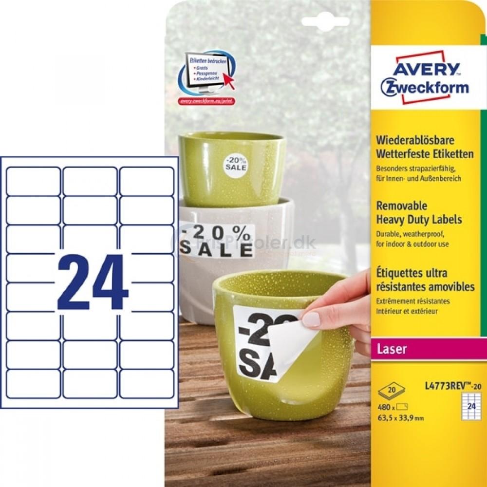 Aftagelige vejrbestandige etiketter A4-ark L4773REV-20