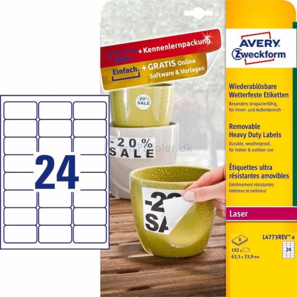 Aftagelige vejrbestandige etiketter A4-ark L4773REV-8