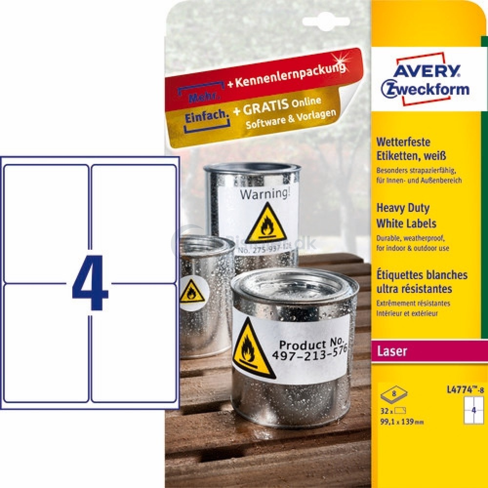 Vejrbestandige etiketter A4-ark L4774-8