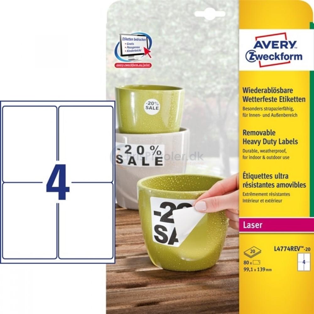 Aftagelige vejrbestandige etiketter A4-ark