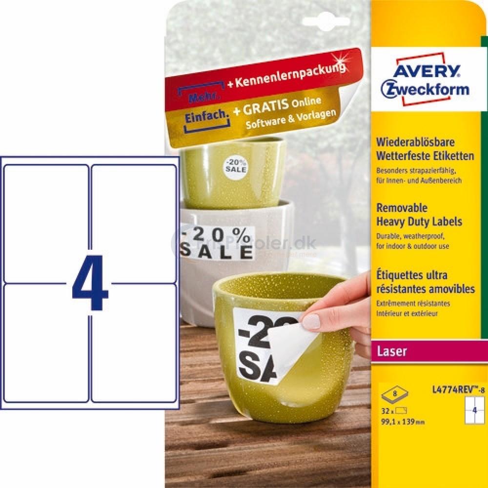 Aftagelige vejrbestandige etiketter A4-ark L4774REV-8