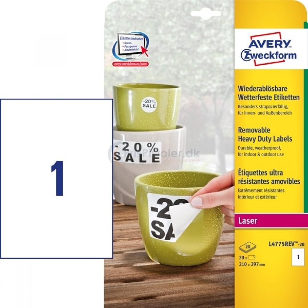 Aftagelige vejrbestandige etiketter A4-ark L4775REV-20
