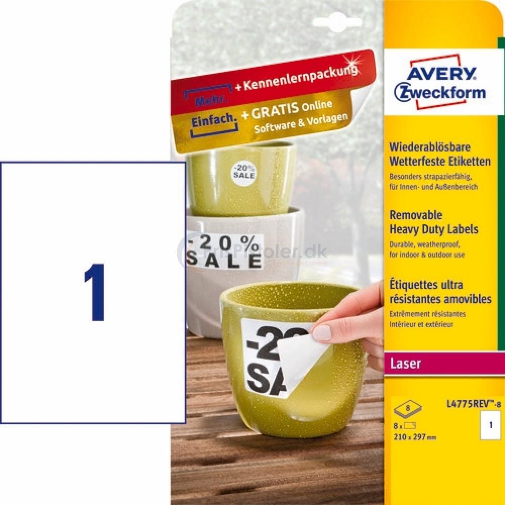 Aftagelige vejrbestandige etiketter A4-ark L4775REV-8