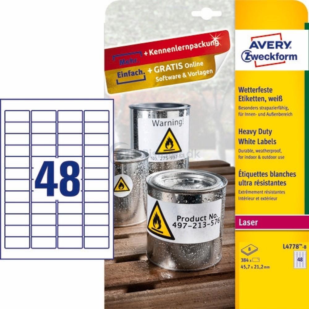 Vejrbestandige etiketter A4-ark L4778-8