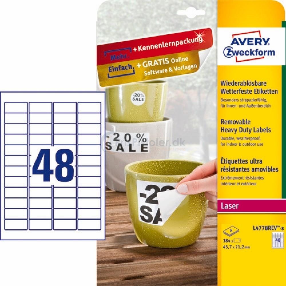 Aftagelige vejrbestandige etiketter A4-ark L4778REV-8