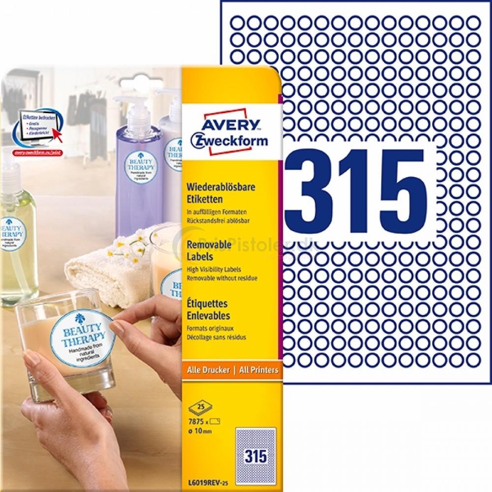 Små runde aftagelige produktetiketter A4-ark L6019REV-25