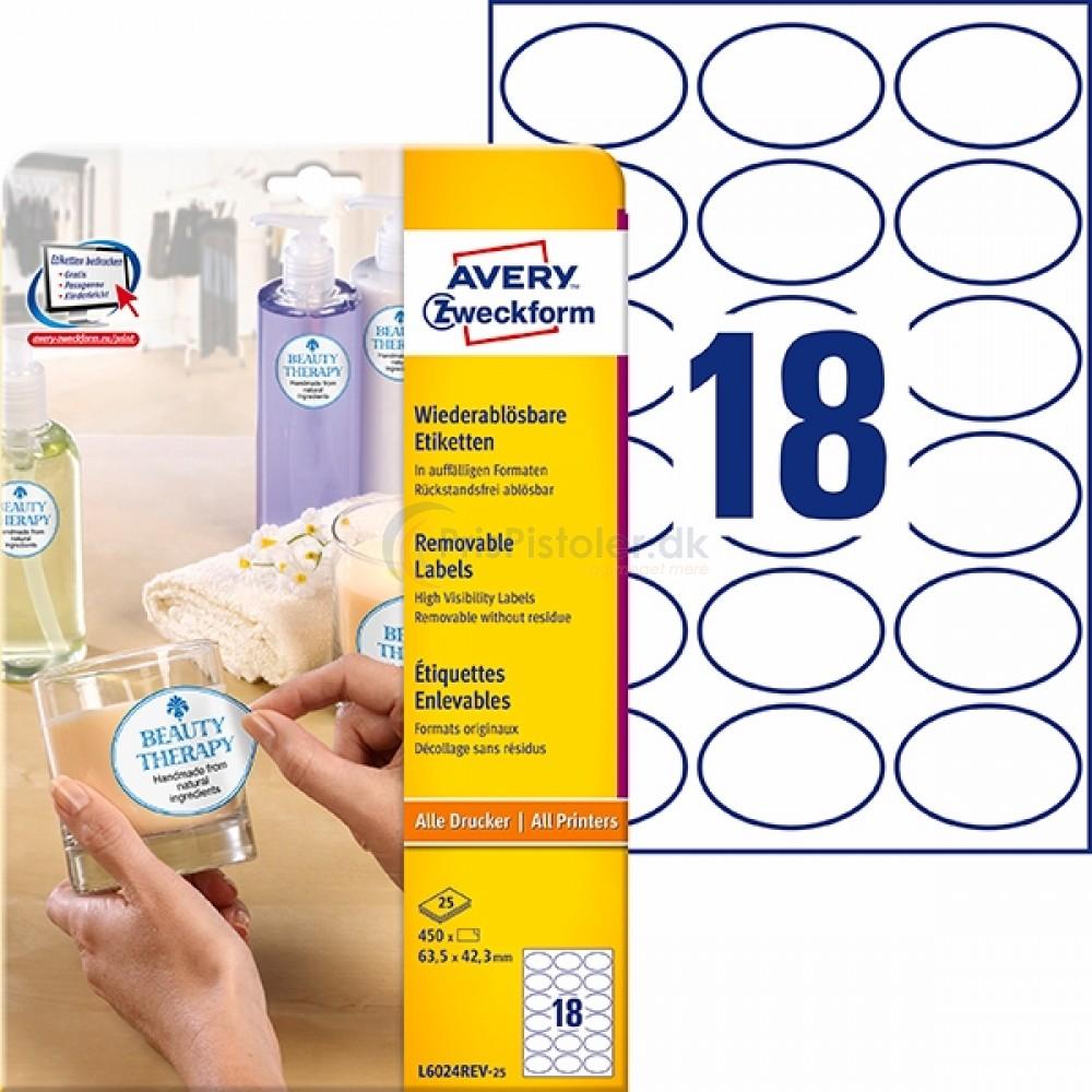 Aftagelige ovale produktetiketter A4-ark L6024REV-25