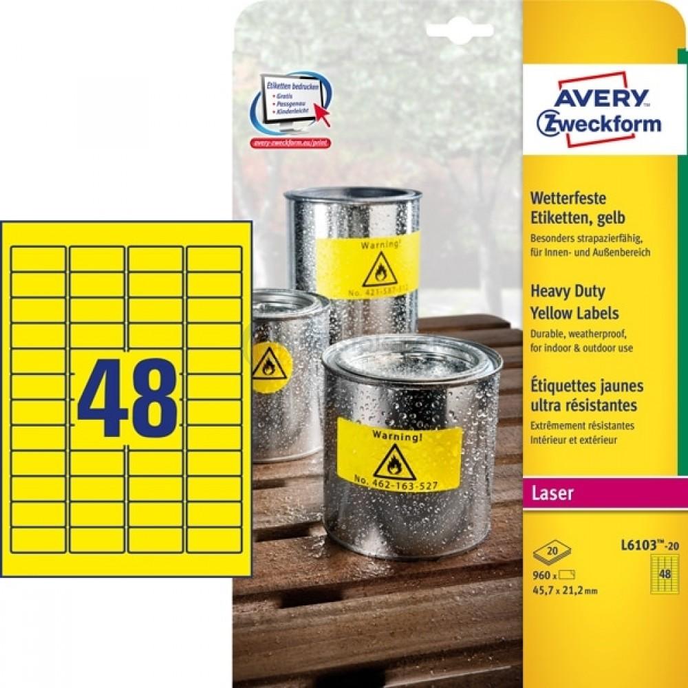 Vejrbestandige etiketter A4-ark L6103-20