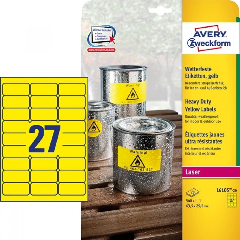 Vejrbestandige etiketter A4-ark L6105-20