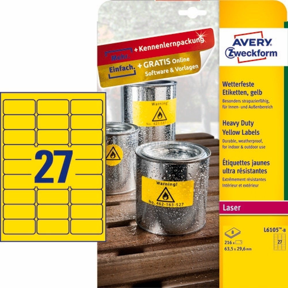 Vejrbestandige etiketter A4-ark L6105-8