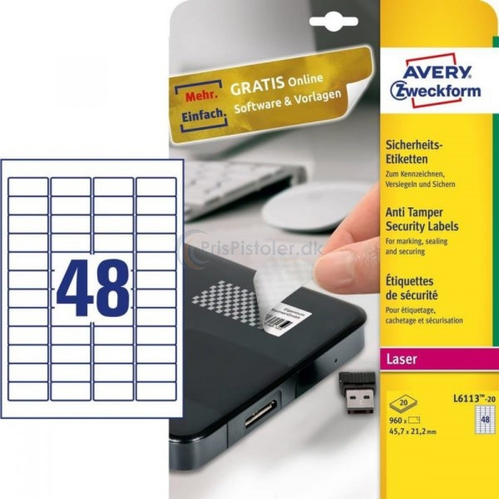 Plomberingsetiketter A4-ark L6113-20