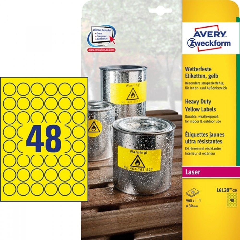 Vejrbestandige etiketter A4-ark L6128-20