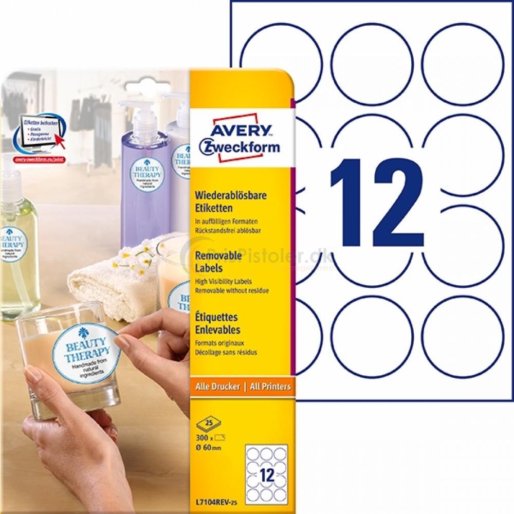 Aftagelige runde produktetiketter A4-ark L7104REV-25