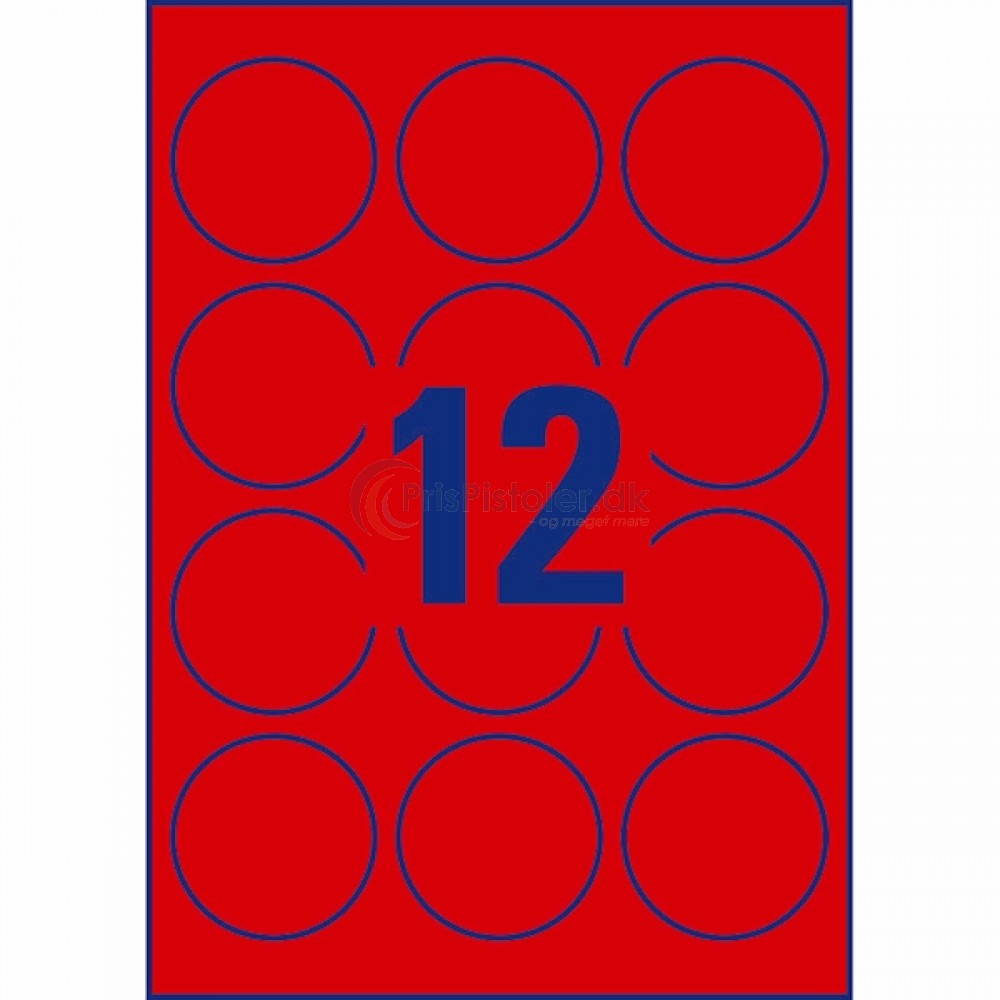 Aftaglige neonfarvede runde etiketter A4-ark L7670R-25