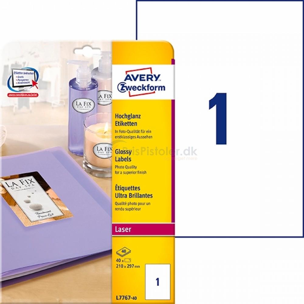 Glansfulde produktetiketter A4-ark L7767-40