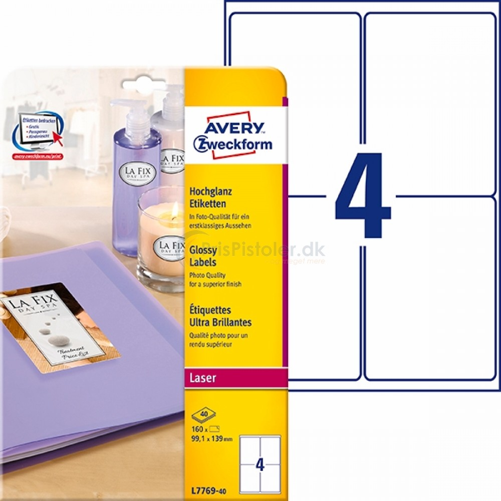 Glansfulde produktetiketter A4-ark L7769-40