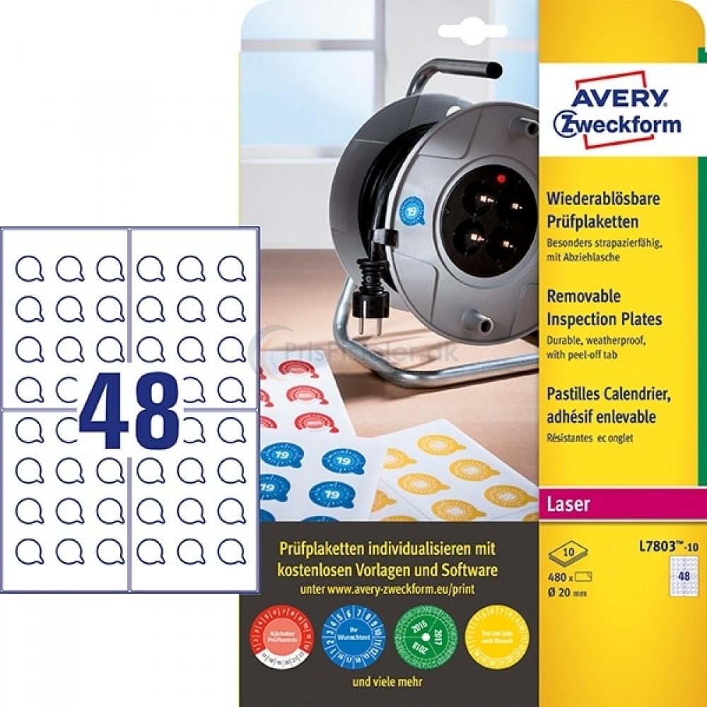 Inspektionsetiketter, aftagelige A4-ark L7803-10