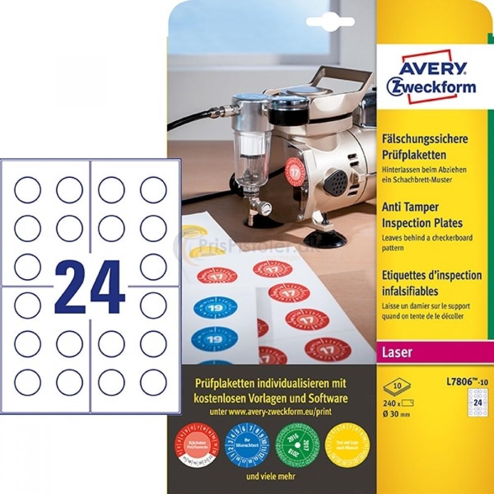 Inspektionsetiketter, Anti-tamper A4-ark L7806-10