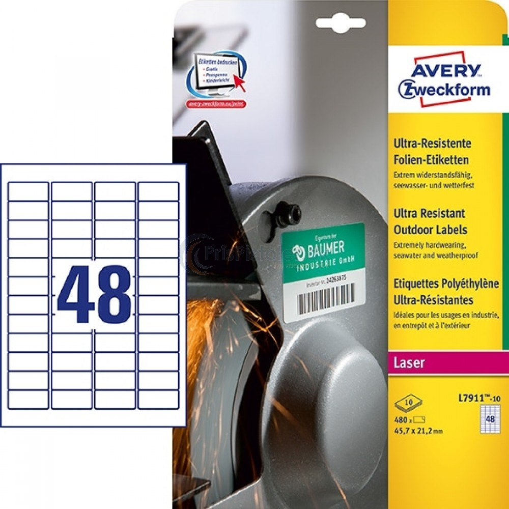Ekstra resistente etiketter A4-ark L7911-10