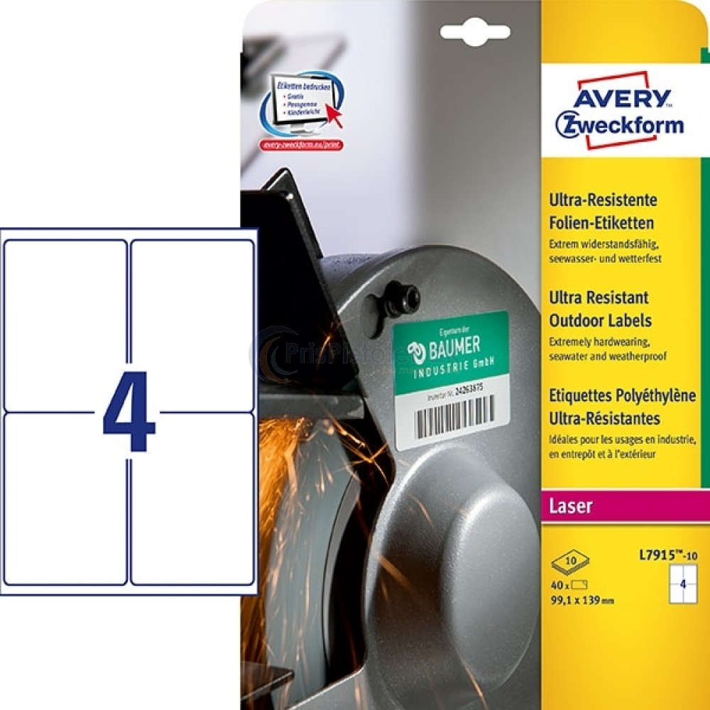 Ekstra resistente etiketter A4-ark L7915-10