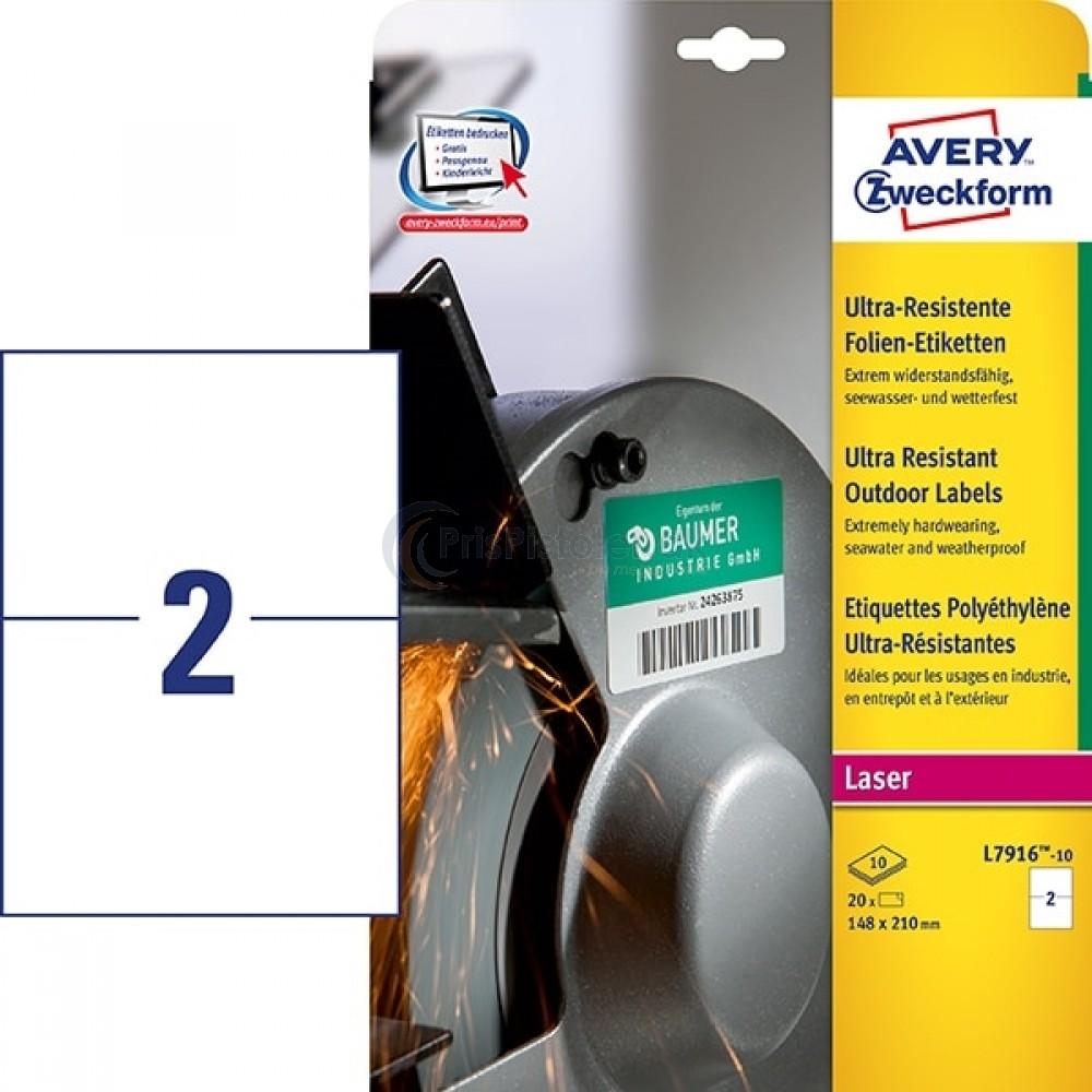 Ekstra resistente etiketter A4-ark L7916-10