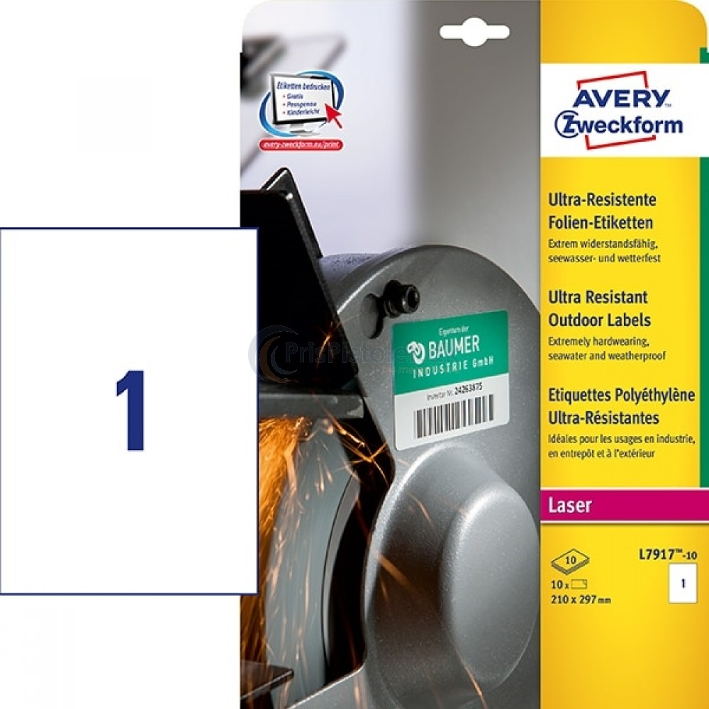 Ekstra resistente etiketter A4-ark L7917-10
