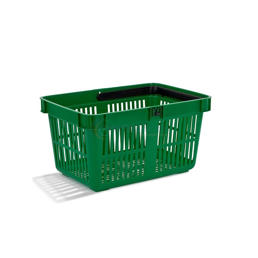 Indkøbskurv, én hank, 28 L, grøn, 25 stk.