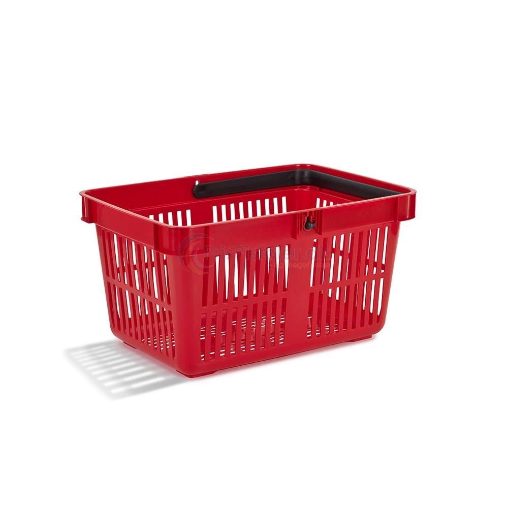 Indkøbskurv, én hank, 28 L, rød, 25 stk.