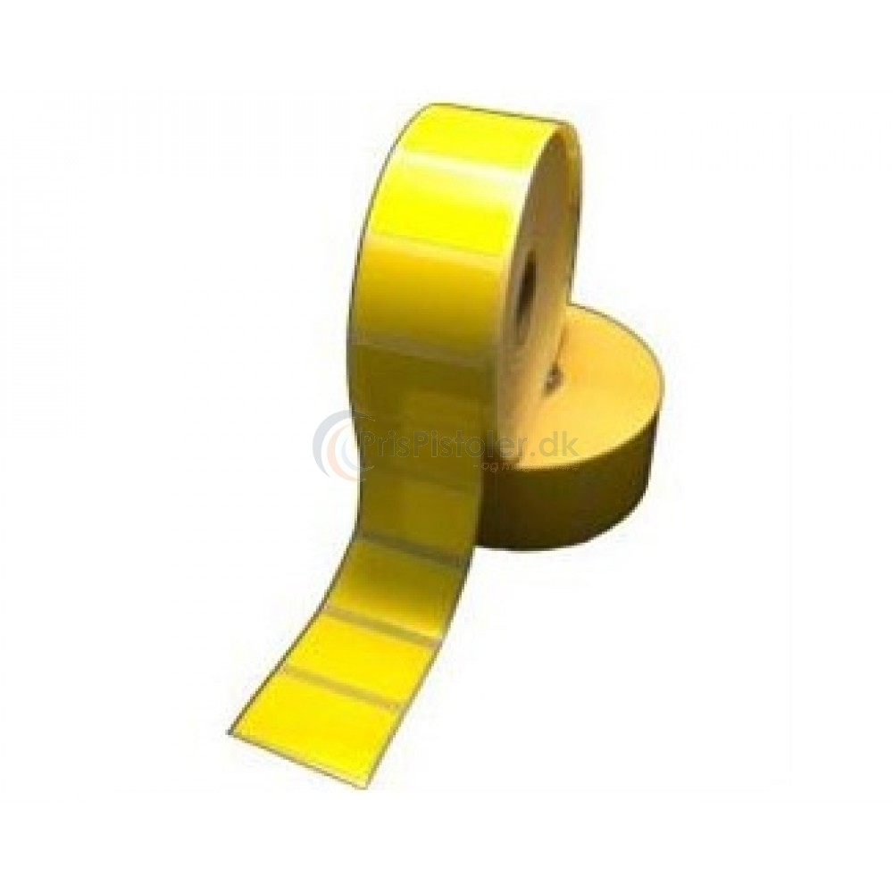 Gul Thermoetiket 40x32 mm - blank overflade - perm. klæber - pakke med 4 rl.