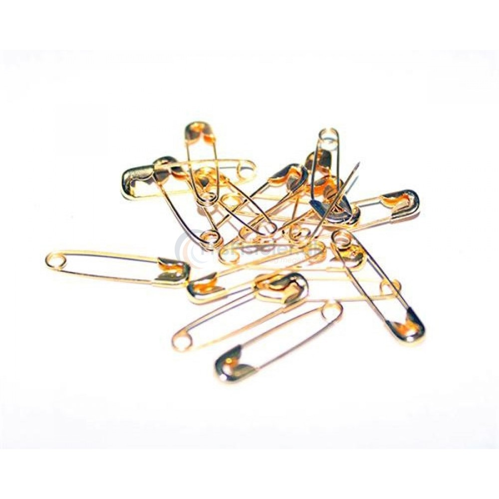 Guldfarvet sikkerhedsnål 19x5 mm