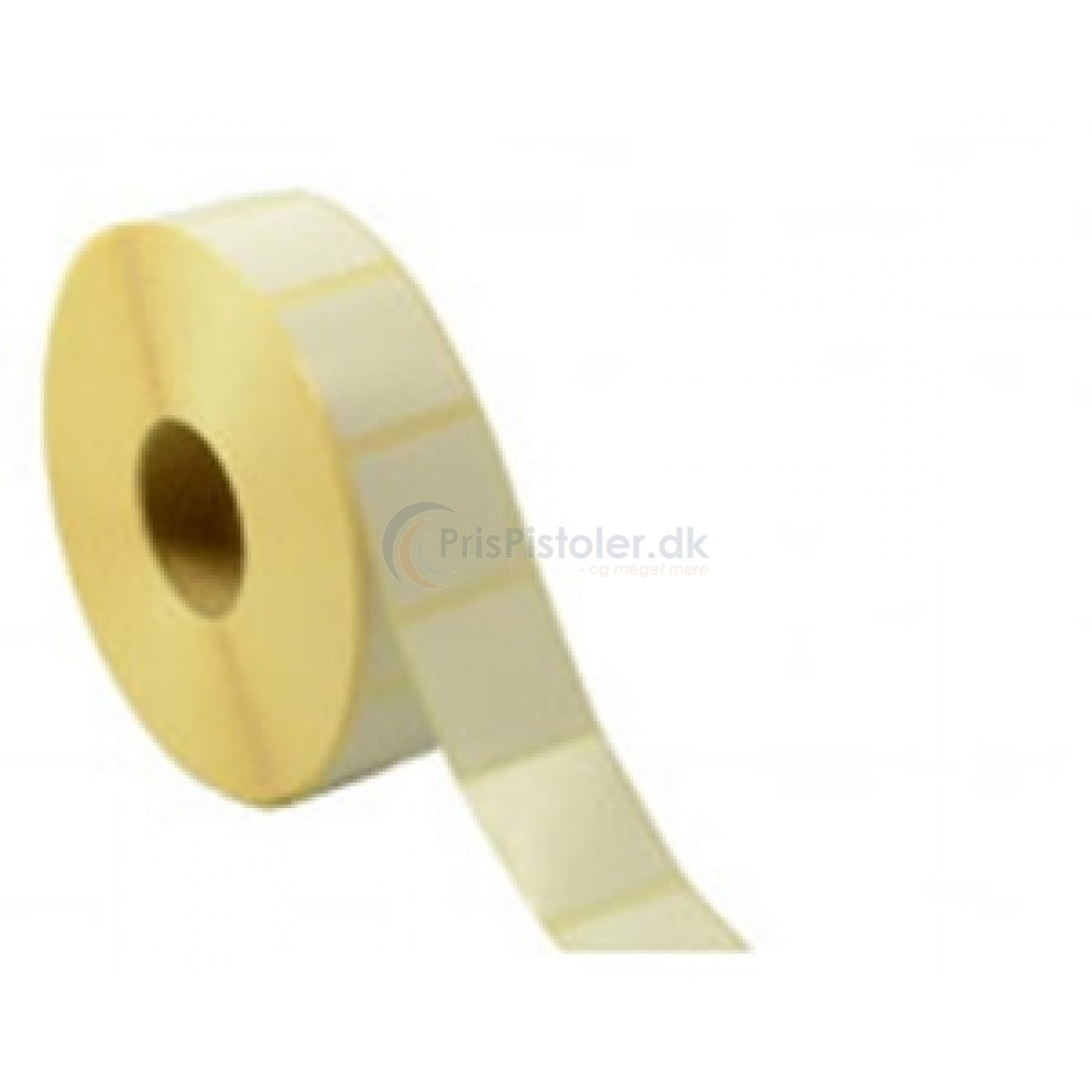 Hvid Thermoetiket 40x32 mm - blank overflade - perm. klæber - pakke med 4 rl.