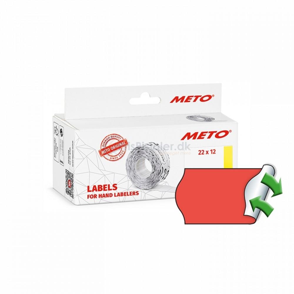 Meto Prismærker 22x12mm aftag. fluor røde - Pakke m. 6 ruller
