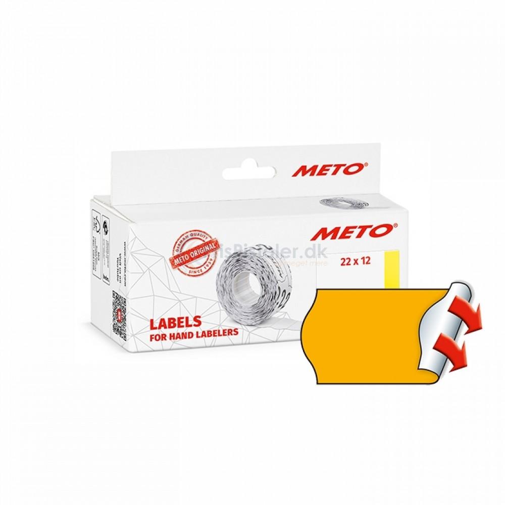 Meto Prismærker 22x12mm perm fluor orange - Pakke m. 6 ruller