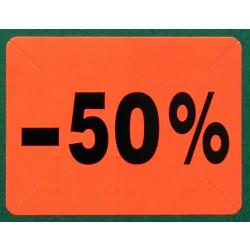 """Label """"50% rabat"""" – Pakke m. 10 ruller"""