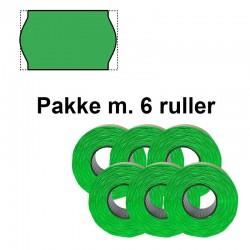 Universal Prismærker 26x16mm perm. fluor grøn - Pakke m. 6 ruller