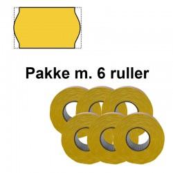 Universal Prismærker 26x16mm perm. gul - Pakke m. 6 ruller