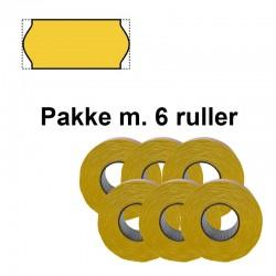 Universale Prismærker 26x12mm perm fluor gul - Pakke m. 6 ruller