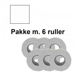 Prismærker PB2 18x16mm perm. hvid - Pakke m. 6 ruller