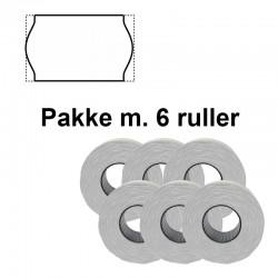 Universale Prismærker 22x12mm perm hvid - Pakke m. 6 ruller