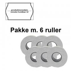 """Universal Prismærker 26x16mm perm. hvid - tryk med """"produktionsdato/mindst holdbartil"""" - Pakke m. 6 ruller"""